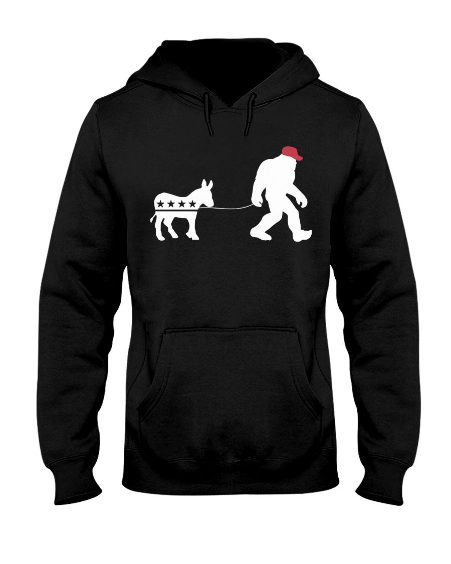 Bigfoot red hat pull the donkey Hooded Sweatshirt