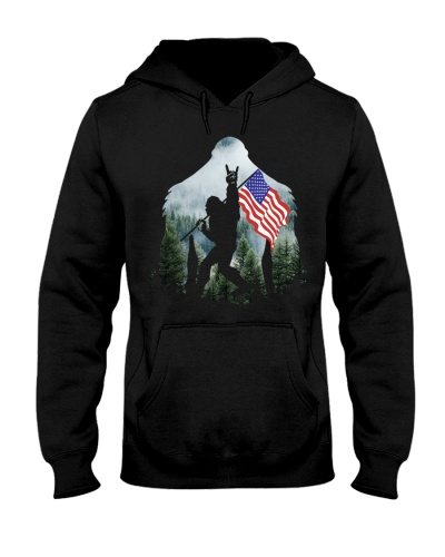 Bigfoot Into The Forest - USA Flag