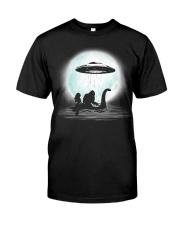 Bigfoot and mermaid UFO under the moon Classic T-Shirt thumbnail