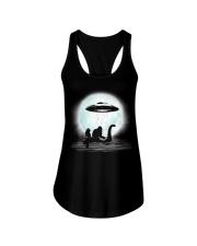 Bigfoot and mermaid UFO under the moon Ladies Flowy Tank thumbnail