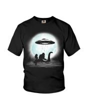 Bigfoot and mermaid UFO under the moon Youth T-Shirt thumbnail