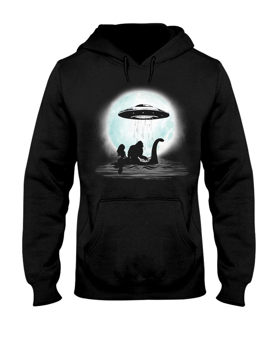 Bigfoot and mermaid UFO under the moon Hooded Sweatshirt