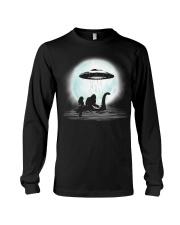 Bigfoot and mermaid UFO under the moon Long Sleeve Tee thumbnail