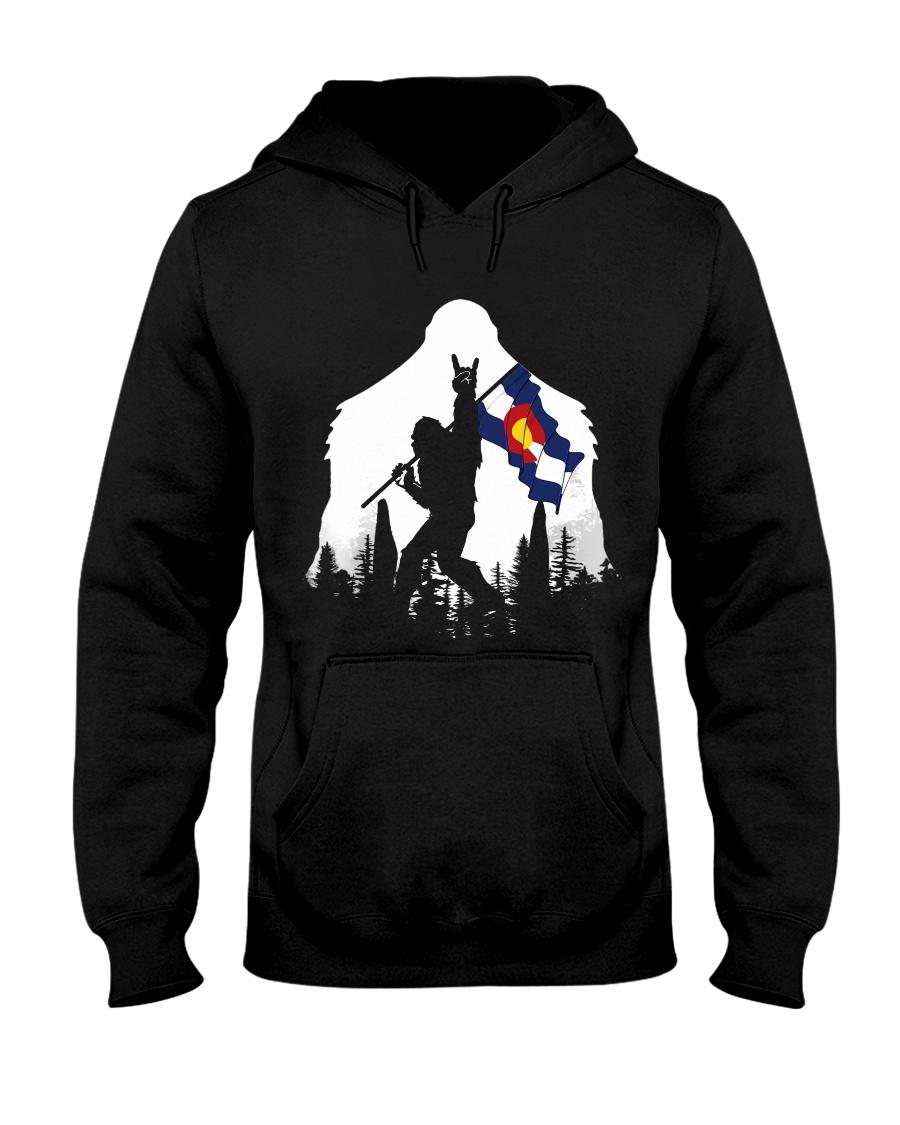 Colorado Flag Bigfoot Rock and roll Hooded Sweatshirt