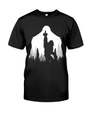Bigfoot middle finger  in the forest Classic T-Shirt thumbnail