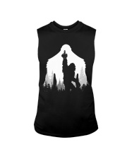 Bigfoot middle finger  in the forest Sleeveless Tee tile