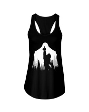 Bigfoot middle finger  in the forest Ladies Flowy Tank thumbnail