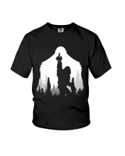 Bigfoot middle finger  in the forest Youth T-Shirt tile