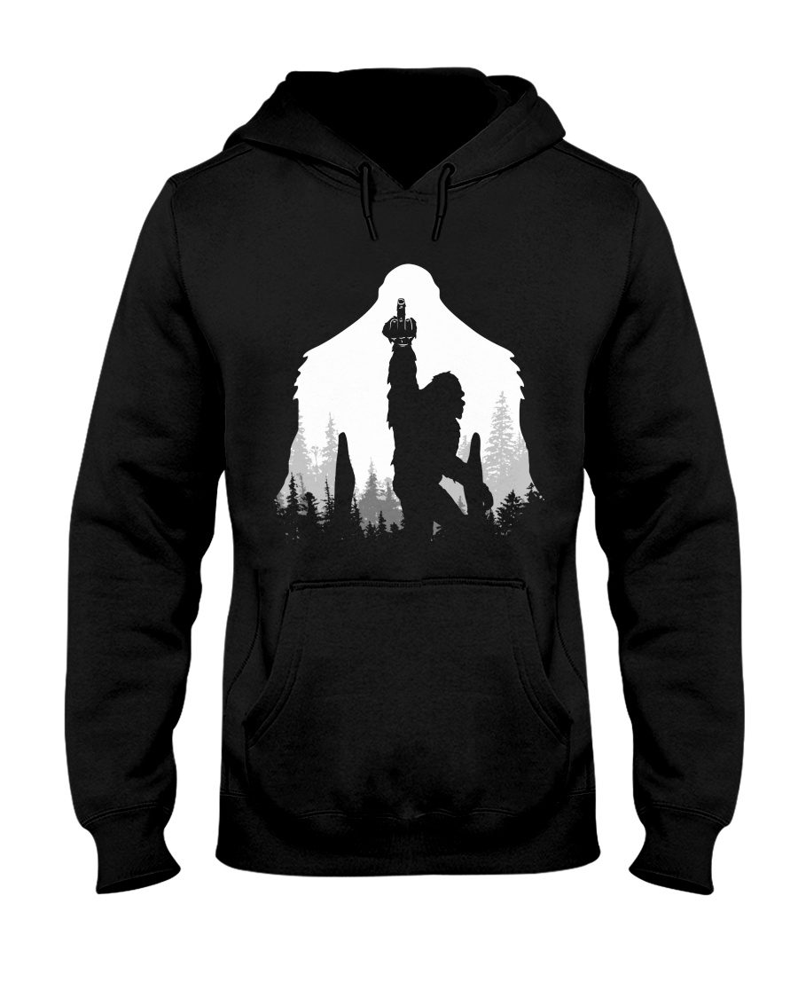 Bigfoot middle finger  in the forest Hooded Sweatshirt