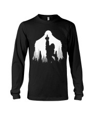 Bigfoot middle finger  in the forest Long Sleeve Tee thumbnail