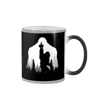 Bigfoot middle finger  in the forest Color Changing Mug tile