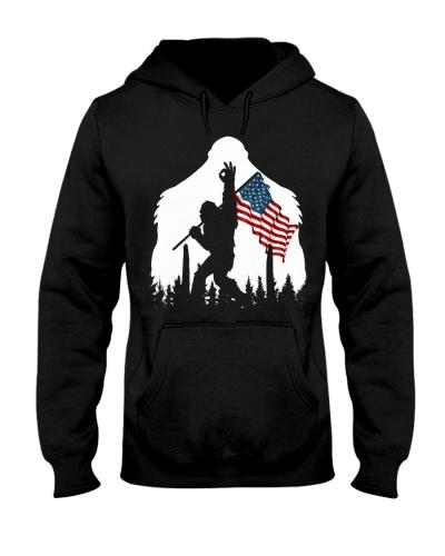 Bigfoot ok sign USA flag