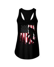 Bigfoot  American USA Flag T-shirt Ladies Flowy Tank thumbnail