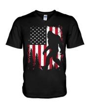 Bigfoot  American USA Flag T-shirt V-Neck T-Shirt thumbnail