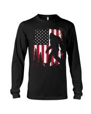Bigfoot  American USA Flag T-shirt Long Sleeve Tee thumbnail
