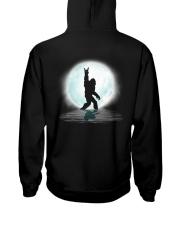 Funny bigfoot rocking under the moon - two side Hooded Sweatshirt back