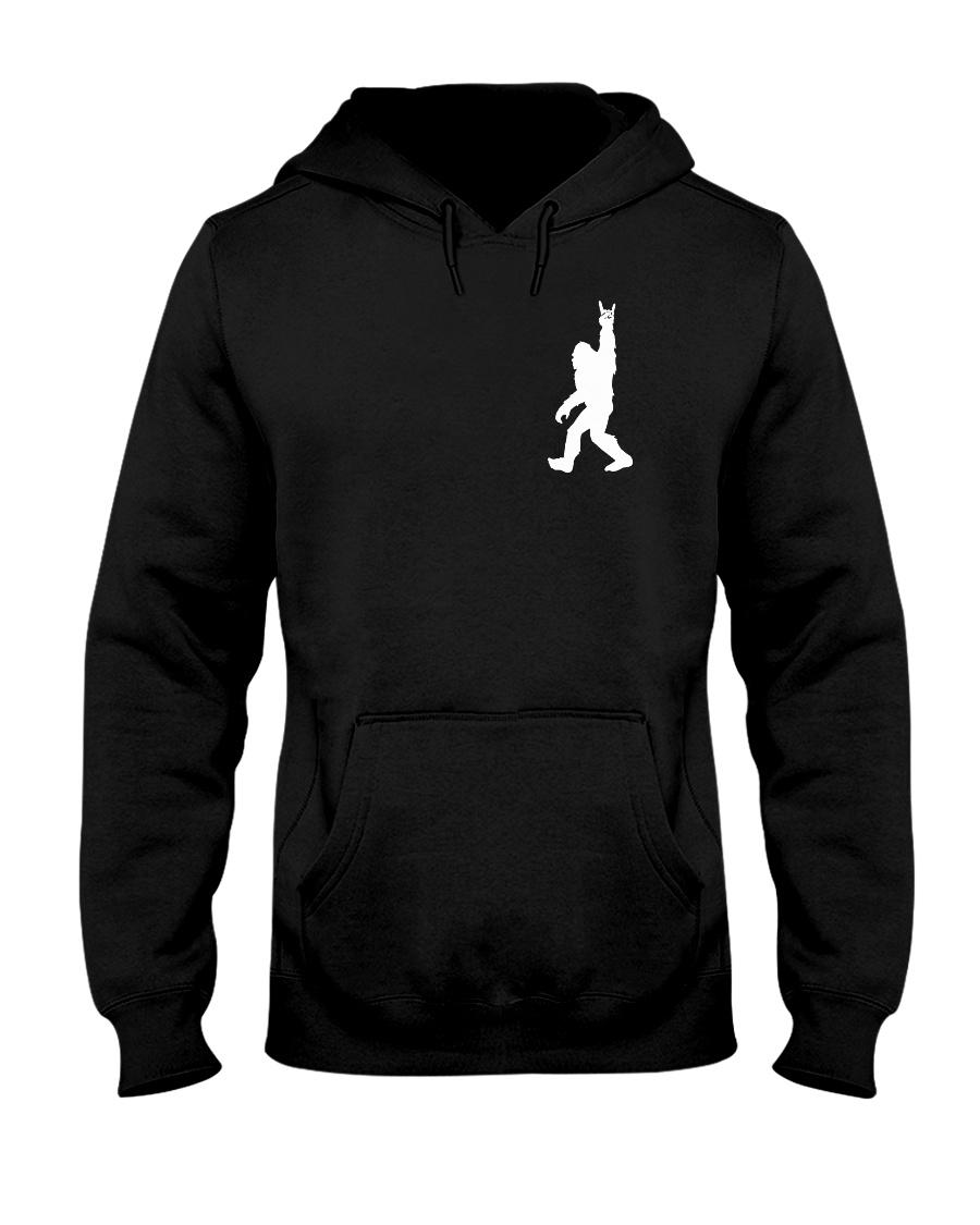 Funny bigfoot rocking under the moon - two side Hooded Sweatshirt