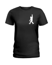 Funny bigfoot rocking under the moon - two side Ladies T-Shirt thumbnail