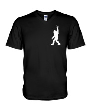 Funny bigfoot rocking under the moon - two side V-Neck T-Shirt thumbnail