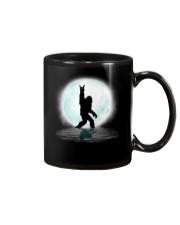 Funny bigfoot rocking under the moon - two side Mug thumbnail