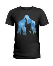 Bigfoot rock and roll ver moon Ladies T-Shirt thumbnail