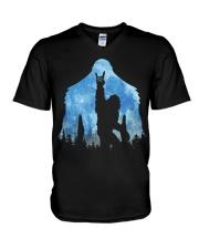 Bigfoot rock and roll ver moon V-Neck T-Shirt thumbnail