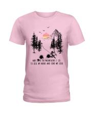 Skiing And into the mountains I go Ladies T-Shirt thumbnail