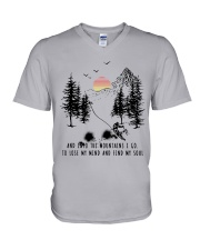 Skiing And into the mountains I go V-Neck T-Shirt thumbnail