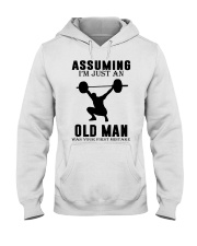 weight lifting old man Hooded Sweatshirt front