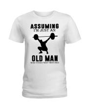 weight lifting old man Ladies T-Shirt thumbnail