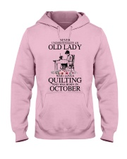 October quilting old lady Hooded Sweatshirt front