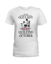 October quilting old lady Ladies T-Shirt thumbnail