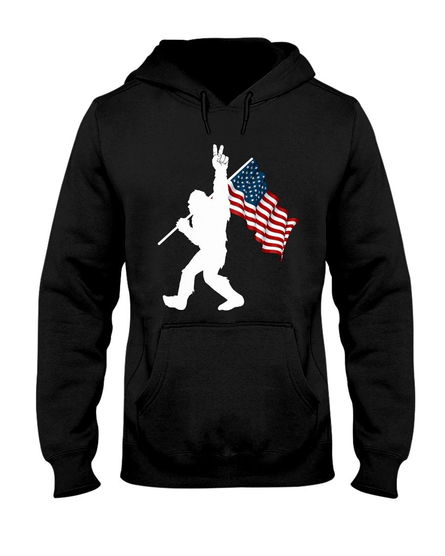 Bigfoot peace sign USA Hooded Sweatshirt