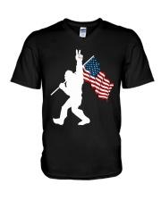 Bigfoot peace sign USA V-Neck T-Shirt thumbnail