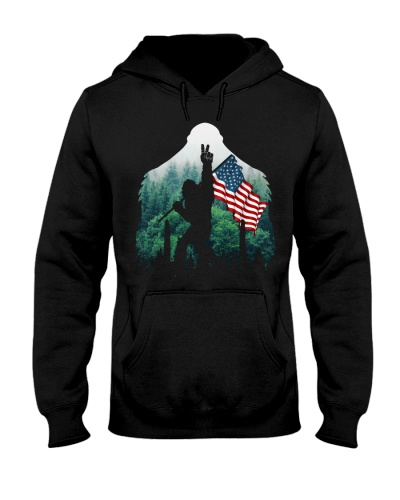Bigfoot peace sign USA flag in the forest