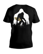 Bigfoot With Morel Mushroom - Back side V-Neck T-Shirt thumbnail