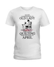 April quilting old lady Ladies T-Shirt thumbnail