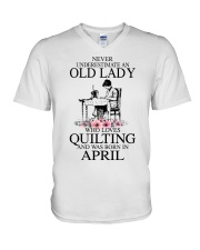 April quilting old lady V-Neck T-Shirt thumbnail