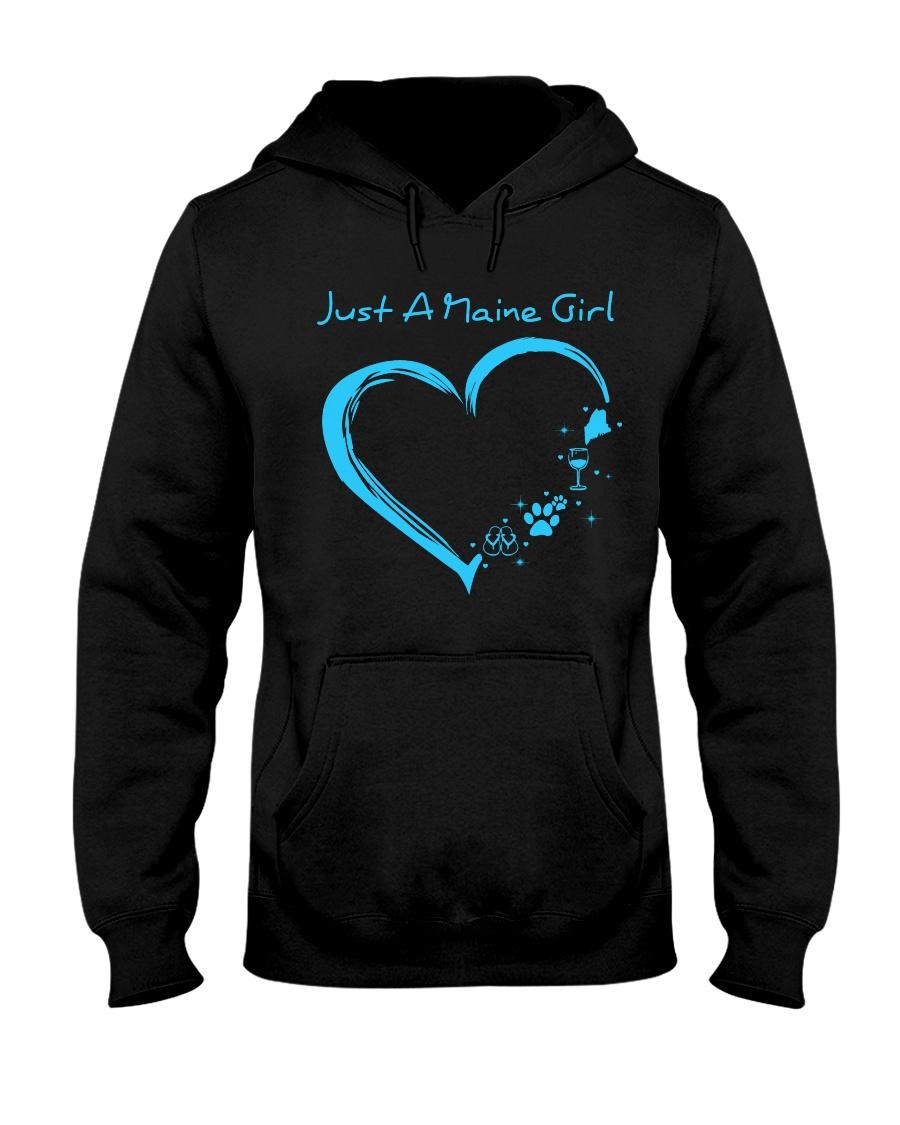 Just A Maine Girl Blue Hooded Sweatshirt