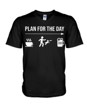 disc dog plan for the day men V-Neck T-Shirt tile