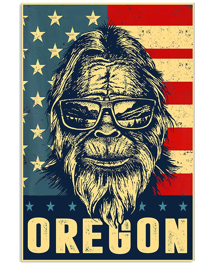 Bigfoot oregon american flag poster 24x36 Poster