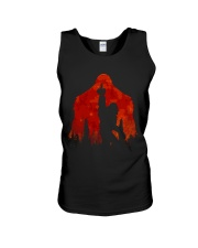 Bigfoot middle finger in the forest ver red moon Unisex Tank thumbnail