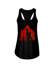 Bigfoot middle finger in the forest ver red moon Ladies Flowy Tank thumbnail