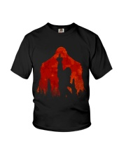 Bigfoot middle finger in the forest ver red moon Youth T-Shirt thumbnail