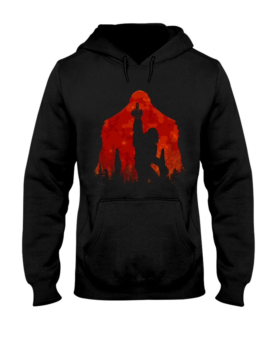 Bigfoot middle finger in the forest ver red moon Hooded Sweatshirt
