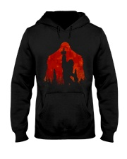 Bigfoot middle finger in the forest ver red moon Hooded Sweatshirt front