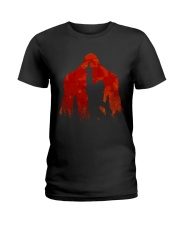 Bigfoot middle finger in the forest ver red moon Ladies T-Shirt thumbnail