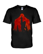 Bigfoot middle finger in the forest ver red moon V-Neck T-Shirt thumbnail