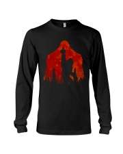 Bigfoot middle finger in the forest ver red moon Long Sleeve Tee thumbnail