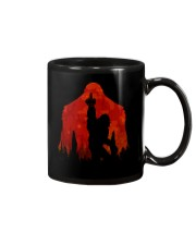 Bigfoot middle finger in the forest ver red moon Mug thumbnail
